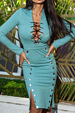 Light Blue Autumn Winter Sexy Ribber Long Sleeve Bandage Double-Breasted Bodycon Slit Dress HHM6530-4
