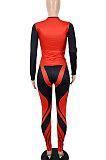 Black Orange Women Autumn Sexy Trendy Tight Printing Long Sleeve Long Pants Sets SH7286-1