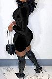 Pink Women Sexy Trendy Skinny Korea Velvet Zipper Pure Color Romper Shorts QMX1021-1