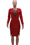 Pink Autumn Winter Sexy Ribber Long Sleeve Bandage Double-Breasted Bodycon Slit Dress HHM6530-1