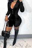 Black Women Sexy Trendy Skinny Korea Velvet Zipper Pure Color Romper Shorts QMX1021-3