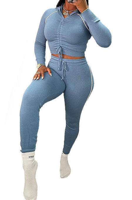 Blue Euramerican Women Hooded Drawsting Crop Solid Color Bodycon Casual Pants Sets AYQ08021-1