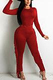 Red Women Autumn Fashion Tassel Long Sleeve Bodycon Pure Color Pants Sets SH7287-2