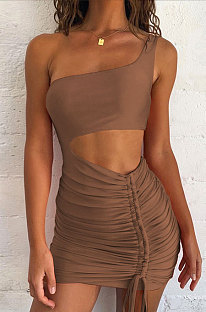 Brown Wholesale Sexy Single Shoulder Hollow Out Bandage Ruffle Solid Color Hip Dress LZY9508-5