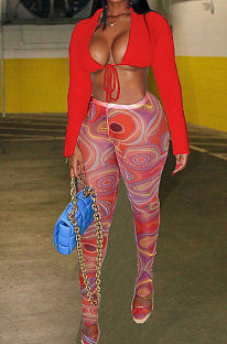 Red Wholesale Sexy Pure Color Bandage Cradigan Tops Printing Bodycon Pantihose Two-Piece BN9307-1