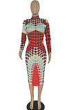 Red Women Sexy Positioning Printing Collect Waist Midi Dress XT0013