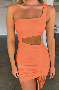 Orange Pink Wholesale Sexy Single Shoulder Hollow Out Bandage Ruffle Solid Color Hip Dress LZY9508-3