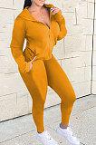 Army Green Euramerican Women Zipper Hooded Fashion Sport Pure Color Long Sleeve Pants Sets XT8888-3