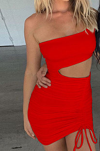 Red Wholesale Sexy Single Shoulder Hollow Out Bandage Ruffle Solid Color Hip Dress LZY9508-2