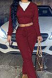 Wine Red Euramerican Women Autumn Winter Drawsting Hooded Pockets Velvet Zipper Pants Sets MLM9079-5