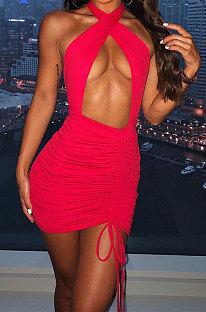 Red Euramerican Women Sexy Solid Color Halter Neck Hollow Out Sleeveless Backless Drawsting Ruffle High Waist Mini Dress FWB20921-3