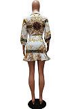 White Autumn Design Printing Three Quarter Sleeve Lapel Neck Shirts Mini Skirts Sets CM2157-1