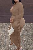 Black New Casual Long Sleeve Deep V Neck Crop Tops Cute Tassel  Hip Skirts Sets S66316-1