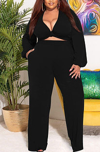 Black Big Yards Women's  Long Sleeve Kink Tops Wide Leg Pants Plain Color Sets S66315-4
