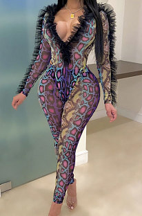 Rose Red Sexy Mesh Snakeskin Printing Long Sleeve Deep V Collar See-Through Two-Piece LMM8289-2