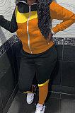 Black Blue Winter Mulitucolor Spliced Long Sleeve Zip Front Hoodie Trousers Sports Sets LMM8290-2