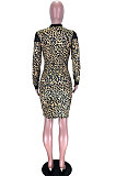 Camouflage Mesh See-Through Spliced Long Sleeve Collect Waist Bodycon Dress LMM8284-2