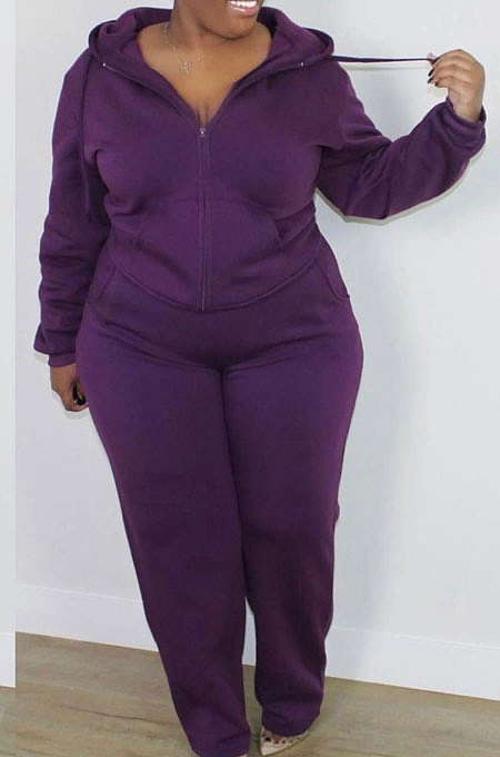 Purple New Big Yards Long Sleeve Zip Front Coat Trousers Solid Color Sports Sets HG150-3
