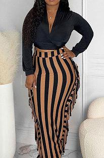 Light Yellow New Casual Long Sleeve Deep V Neck Crop Tops Cute Tassel  Hip Skirts Sets S66316-3