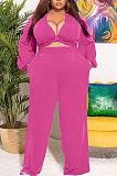 Ligth Green Big Yards Women's  Long Sleeve Kink Tops Wide Leg Pants Plain Color Sets S66315-2