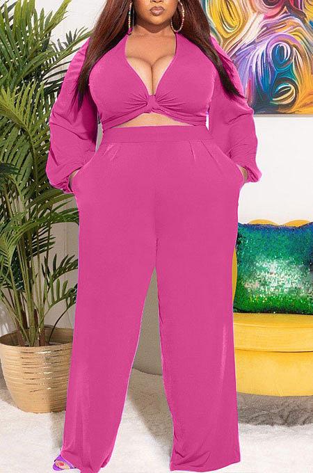 Purple Big Yards Women's  Long Sleeve Kink Tops Wide Leg Pants Plain Color Sets S66315-3