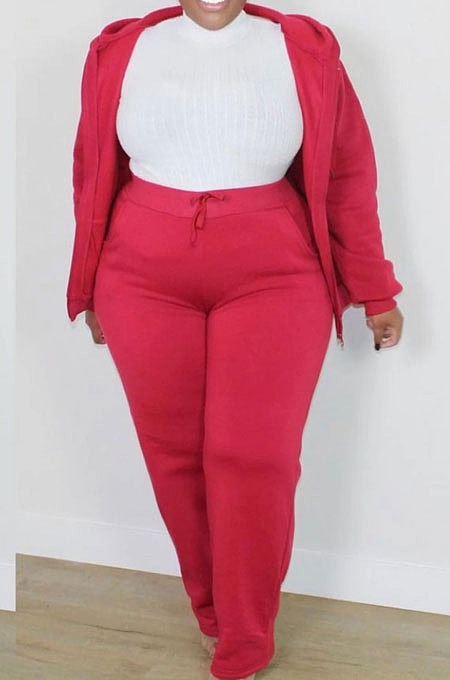 Red New Big Yards Long Sleeve Zip Front Coat Trousers Solid Color Sports Sets HG150-2