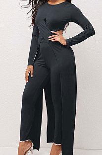 Black Modest New Women Long Sleeve Round Neck Cross Hollow Out Cape Tops Bodycon Trousers Solid Color Sets LWW9323-1