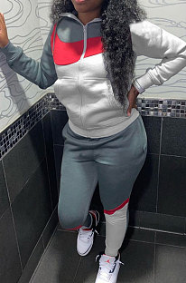 Grey White Winter Mulitucolor Spliced Long Sleeve Zip Front Hoodie Trousers Sports Sets LMM8290-3