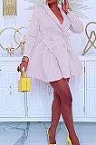 Black Wholesale Long Sleeve Lapel Neck Double-Breasted Collect Waist Plain Color Dress CM2160-1