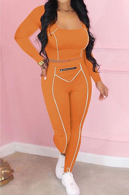 Orange Fashion Stripe Spliced Long Sleeve Square Neck Bodycon Tops Pencli Pants Sets MD383-6