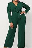 Black Wholesale Cotton Blend Pure Color Long Sleeve V Neck Collect Waist Wide Leg Jumpsuits LWW9322-1