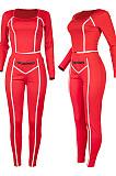 Black Fashion Stripe Spliced Long Sleeve Square Neck Bodycon Tops Pencli Pants Sets MD383-1