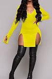 Black Night Club Pure Color Long Sleeve V Neck Collect Waist Double Side Slit Dress LWW9305-1