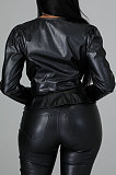 Black Fashion New Flocking Leather Long Sleeve V Collar Front Button Collect Waist Tops LWW9326-1