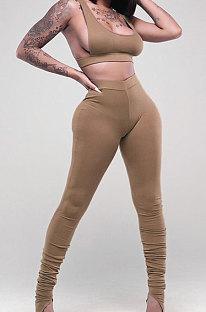 Khaki Sports Solid Color Strapless Split Skinng Pants Yoga Sets ZTD010-4