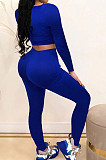 Green Fashion Stripe Spliced Long Sleeve Square Neck Bodycon Tops Pencli Pants Sets MD383-2