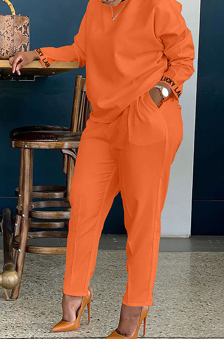 Orange Cotton Blend  Sleeve Opening Letter Embroid Loose Tops Trousers  Plain Color Casual Sets BBN209-3