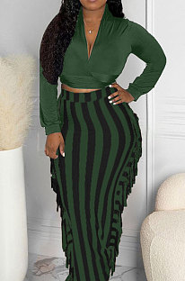 Olive Green New Casual Long Sleeve Deep V Neck Crop Tops Cute Tassel  Hip Skirts Sets S66316-4