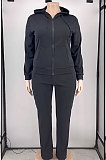 Black New Big Yards Long Sleeve Zip Front Coat Trousers Solid Color Sports Sets HG150-1
