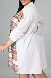 Red White Color Matching Autumn Winter Simple Positioning Printing Long Sleeve Loose Shirt Dress LWW9321-1