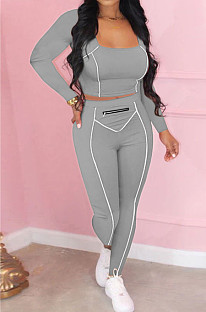 Grey Fashion Stripe Spliced Long Sleeve Square Neck Bodycon Tops Pencli Pants Sets MD383-5