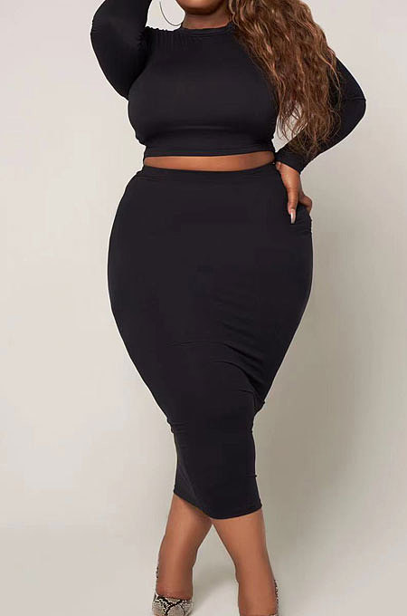 Red Big Yards Fat Women Long Sleeve Round Neck T-Shirts Long Skirts Plain Color Sets S66308-2