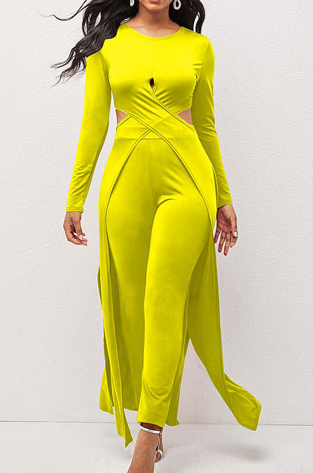 Yellow Modest New Women Long Sleeve Round Neck Cross Hollow Out Cape Tops Bodycon Trousers Solid Color Sets LWW9323-3