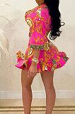 Rose Red Autumn Design Printing Three Quarter Sleeve Lapel Neck Shirts Mini Skirts Sets CM2157-2