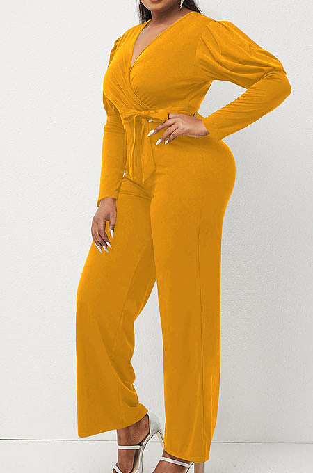 Yellow Wholesale Cotton Blend Pure Color Long Sleeve V Neck Collect Waist Wide Leg Jumpsuits LWW9322-2
