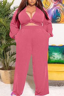 Orange Big Yards Women's  Long Sleeve Kink Tops Wide Leg Pants Plain Color Sets S66315-5