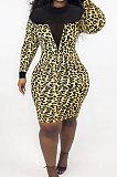 Leopard Print Mesh See-Through Spliced Long Sleeve Collect Waist Bodycon Dress LMM8284-1