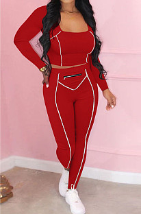 Red Fashion Stripe Spliced Long Sleeve Square Neck Bodycon Tops Pencli Pants Sets MD383-3
