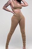 Black Sports Solid Color Strapless Split Skinng Pants Yoga Sets ZTD010-1