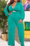 White Big Yards Women's  Long Sleeve Kink Tops Wide Leg Pants Plain Color Sets S66315-1